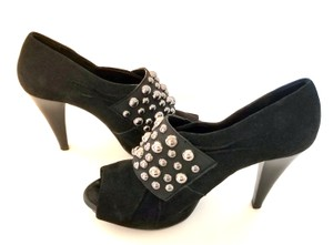 Gianni Bini Chunky Open Toe Black Velvet Pumps