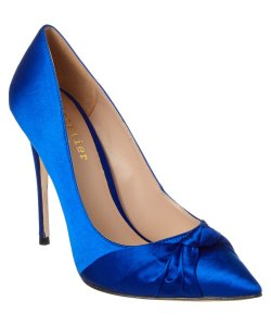 Nicole Miller Satin Pointed Toe Stiletto Cobalt Blue Pumps