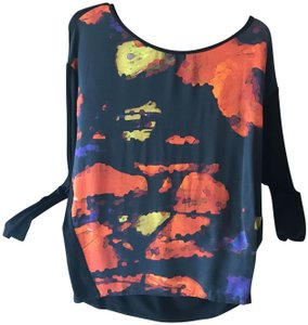 THE WRIGHTS Longsleeve Abstract Jersey Bateau Dolman Top Black, Orange, Yellow