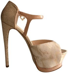 Boutique 9 Snakeskin Textue Sparkle Party Platform gold Sandals