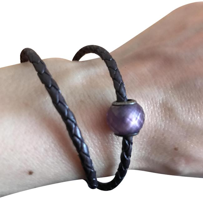 Item - Purple Braided Double Leather with Charm Bracelet