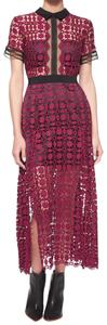 self-portrait Oxblood Party Lace Holiday Dress