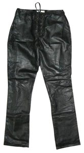 Hugo Buscati Leather Excellent Condition Fully Lined Straight Pants Black