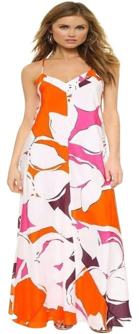 Item - Orange/Coral/Pink/White Eden Dvf Barths Printed Silk Maxi Garden Long Formal Dress Size 4 (S)