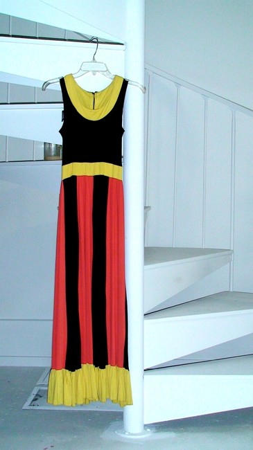 Yellow black and orange Maxi Dress by Other Vintage Hand Made Long Gown