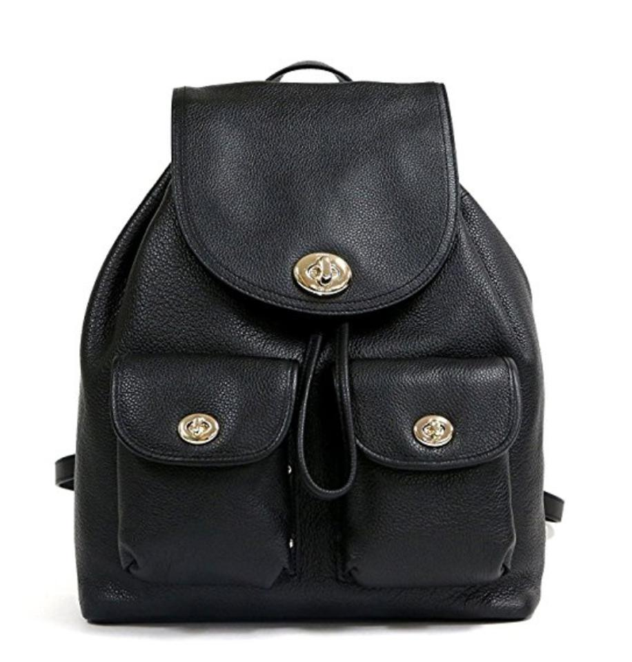972e335fd Coach Rucksack 37582 Turnlock Rivets Pebble Leather Backpack Image 0 ...