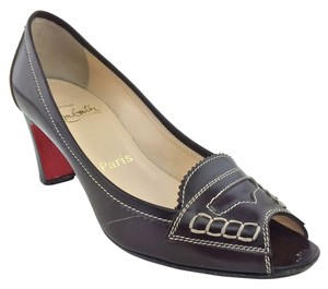 Christian Louboutin Peep Toe Brown Pumps