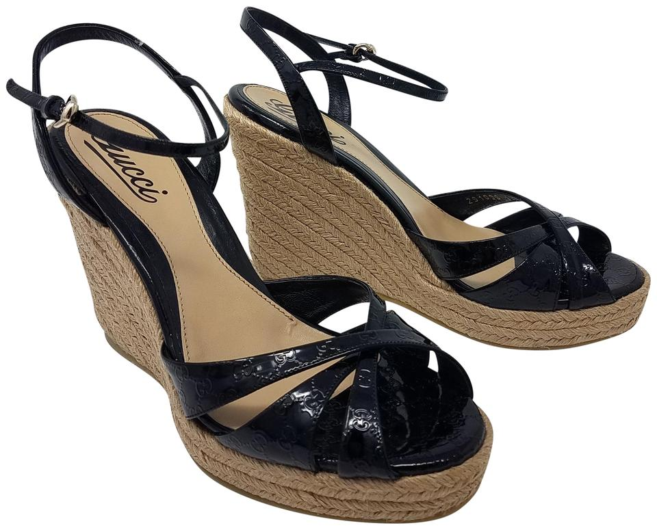 b830dede0 Gucci Black Beige Micro Guccissima Patent Leather Espadrille Wedge Sandals