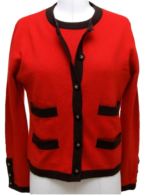 Preload https://item2.tradesy.com/images/chanel-red-brown-sweater-knit-twinset-black-cashmere-gold-cc-buttons-cardigan-size-6-s-2264381-0-0.jpg?width=400&height=650