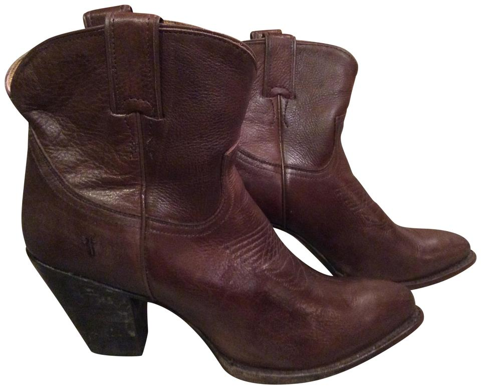 Frye Ankle Chocolate Western Inspired Leather Ankle Frye Boots/Booties 8b1f96