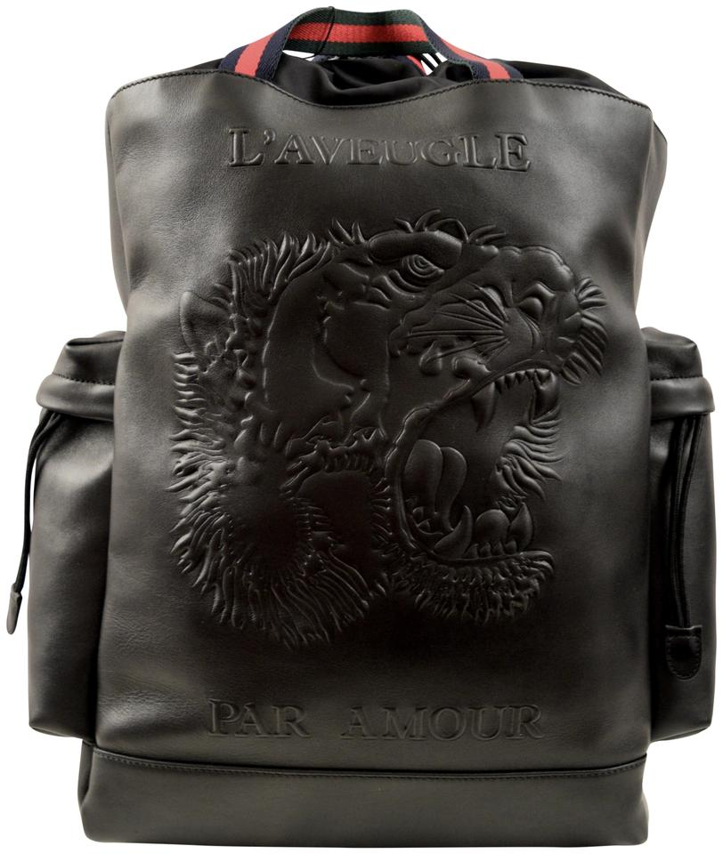 14b9a9cdedfc Gucci Tiger Embossed Drawstring Black Leather Backpack - Tradesy