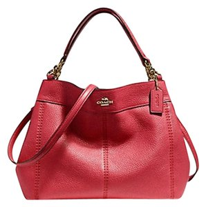 Coach Leather Tags New Edde Large Satchel in red