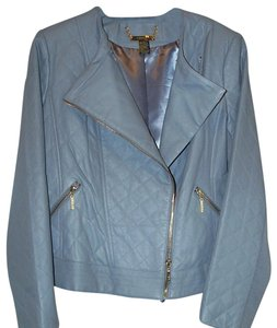 Joy & IMAN Detachable Collar grey Leather Jacket