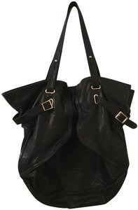 Le'Bulga Leather Tote in Black