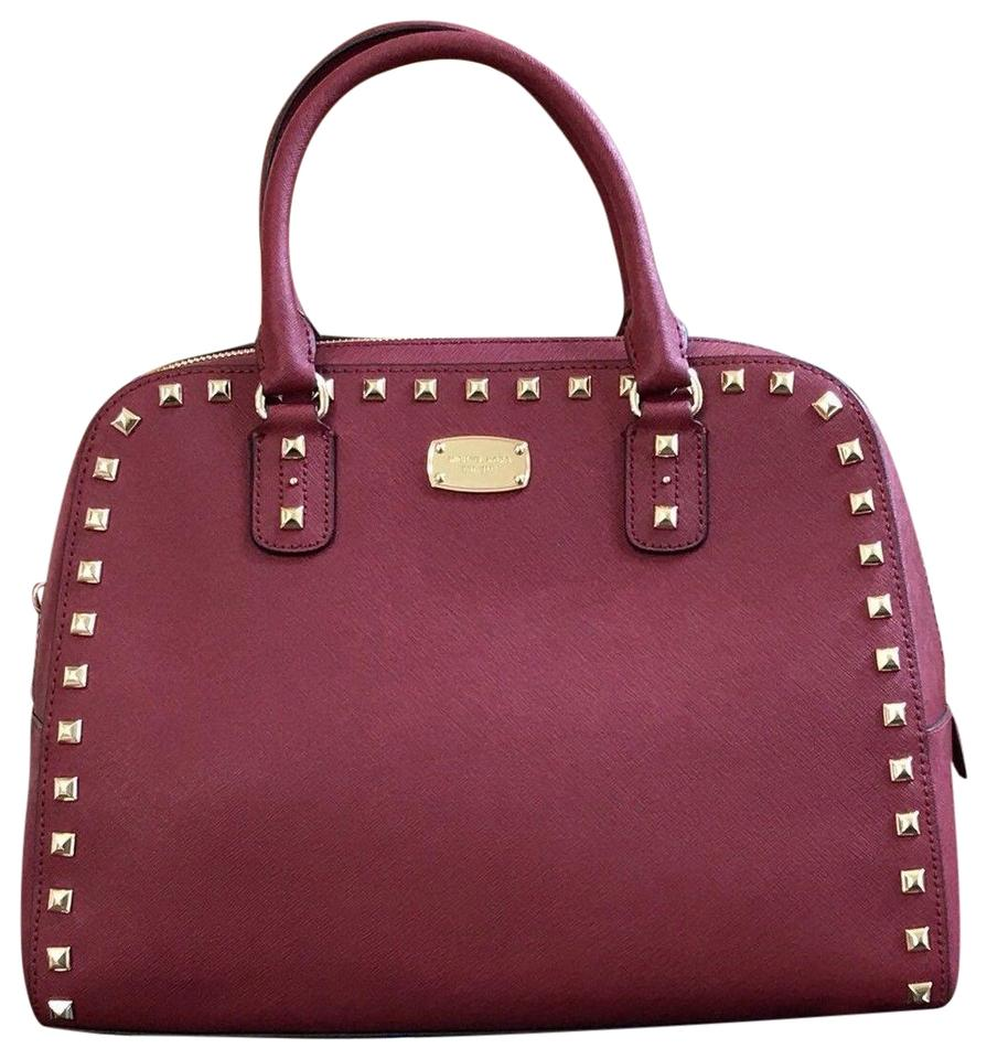 9c9fae0fe42b MICHAEL Michael Kors Sandrine Saffiano Large Handbag Cherry Leather ...