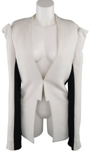 Gareth Pugh Structured Open Front Cold Shoulder Color-blocking Wool White Blazer