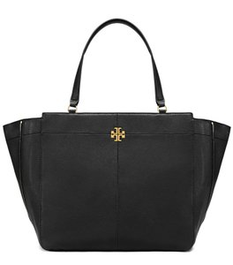 Tory Burch Leather Side Zip Expandable Tote in Black