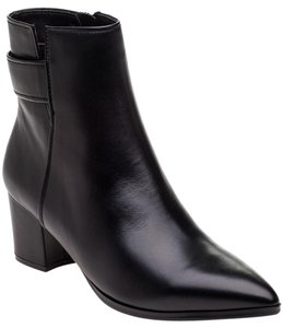 Vaneli Leather Ankle Pointed Black Boots
