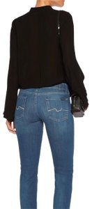 7 For All Mankind Frayed Hem Cropped Midrise Skinny Jeans-Dark Rinse