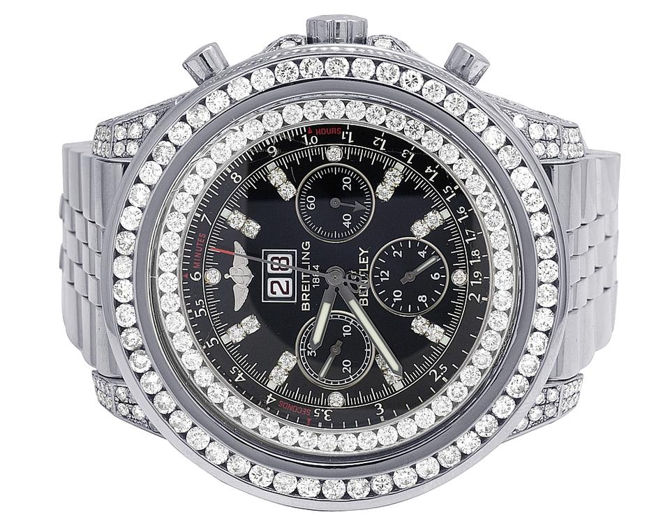 Breitling Stainless Steel Black Custom Mens Bentley 6 75 A4436412 48mm Dial Diamond 14 0ct Watch 61 Off Retail