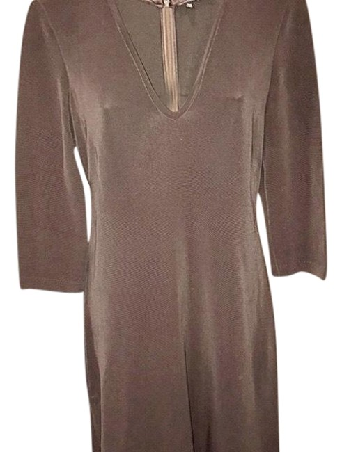 Item - Brown Ribbed Knit Body Mid-length Short Casual Dress Size 6 (S)