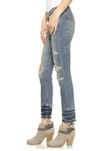 Rag & Bone Frayed Hem Destroyed Skinny Jeans-Distressed