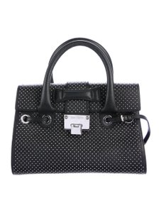 Jimmy Choo Silver Hardware Studded Includes Tags Silver Satchel in Black