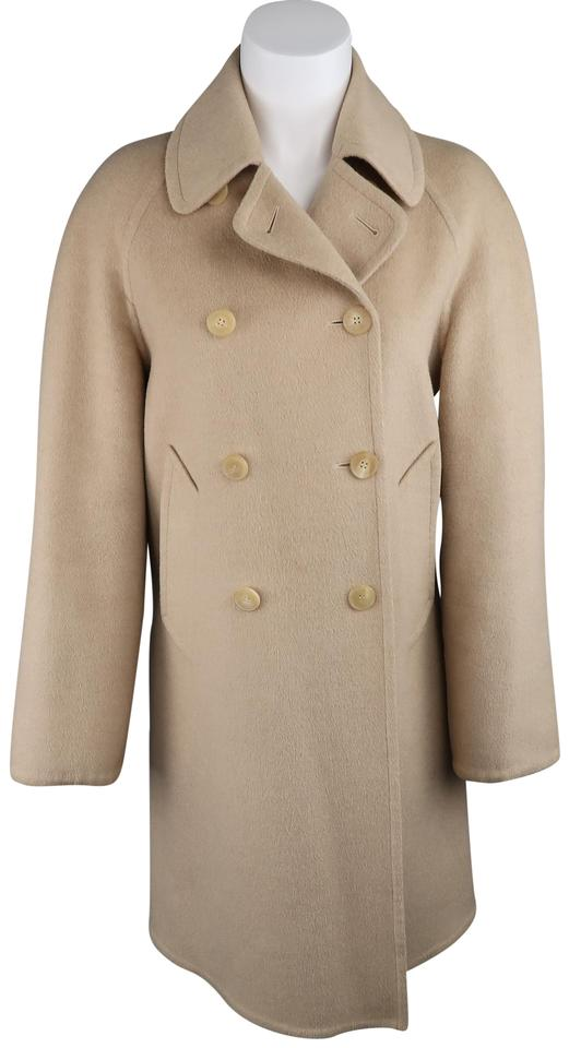Hermès Beige Camel Hair Double Breasted Car Trench Coat Size 6 (S ...