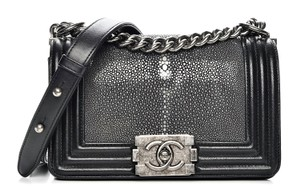 562906ec0d48 Chanel Box Dust Cover Galuchat Cross Body Bag. Chanel Classic Flap Boy  Small Rare Iridescent Stingray Black Leather ...