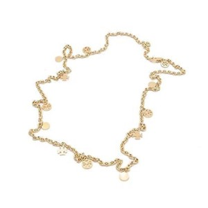 Tory Burch Gold Logo Chain Rosary Necklace