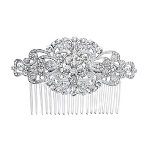 Silver Crystal Comb Hair Accessory