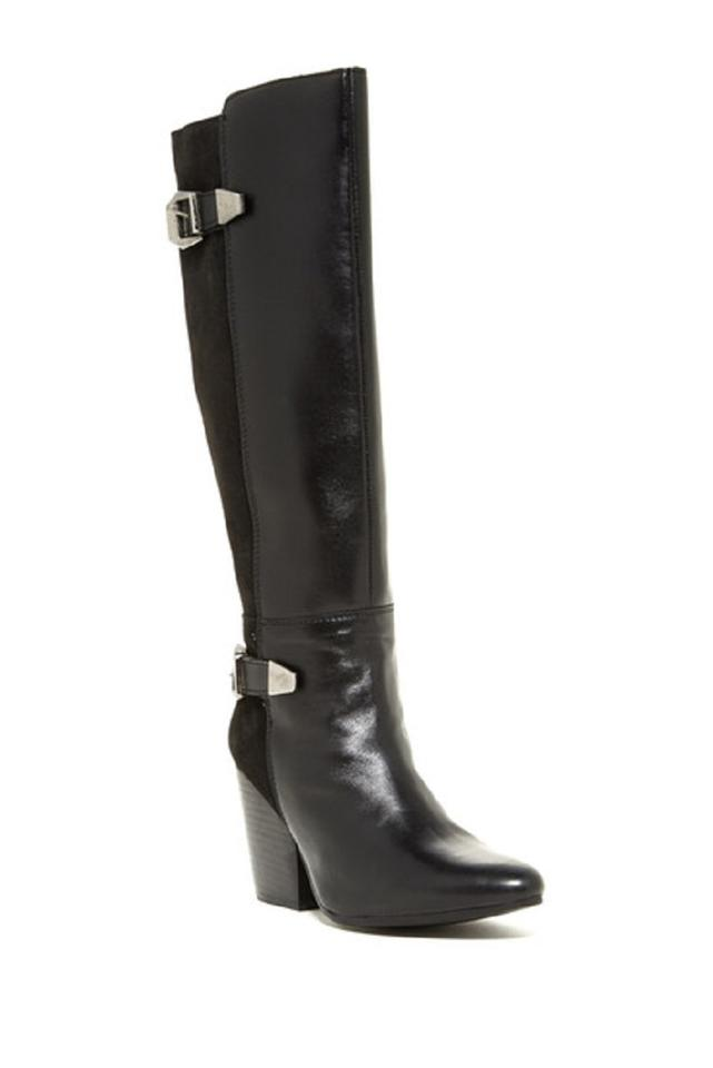 Catherine and Malandrino Black Bast Leather and Catherine Suede Tall Motorcycle Boots/Booties 7d6236