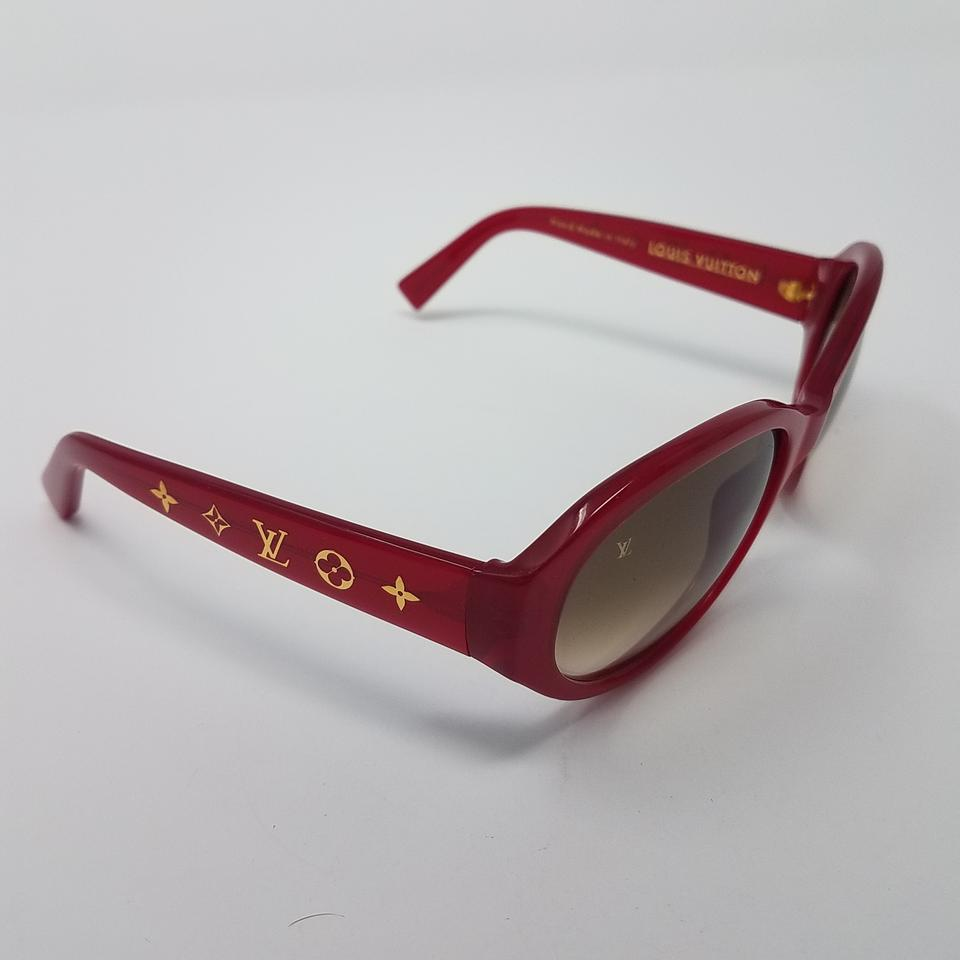 c880923711 Louis Vuitton Red Gold Acetate Lv Logo Obsession Glitter Sunglasses ...