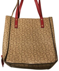 Calvin Klein Leather Tote in Red and Tan