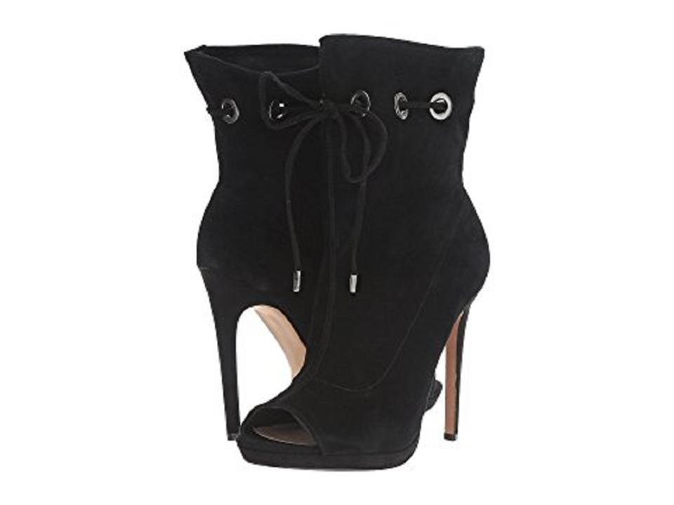 383c56b0585 Steve Madden Suede Leather Open Toe Ankle Black Boots Image 11.  123456789101112