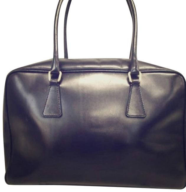Item - Black Leather Yellow and White Gold Tote