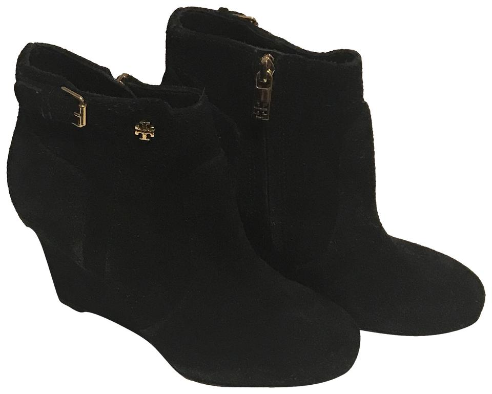 75a4510e0692b Tory Burch Black Milan Suede Wedge Heel Boots Booties Size US 5 ...