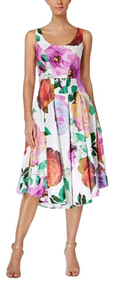 Calvin Klein Floral Print Midi Fit Flare Mid Length Casual Maxi Dress Size 6 S