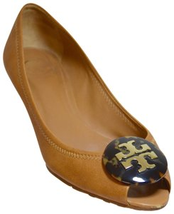 Tory Burch Peep Toe Tan Wedges