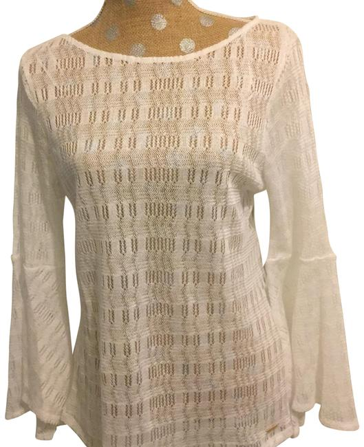 Item - White Bell Sleeve Weave Tunic Size 8 (M)