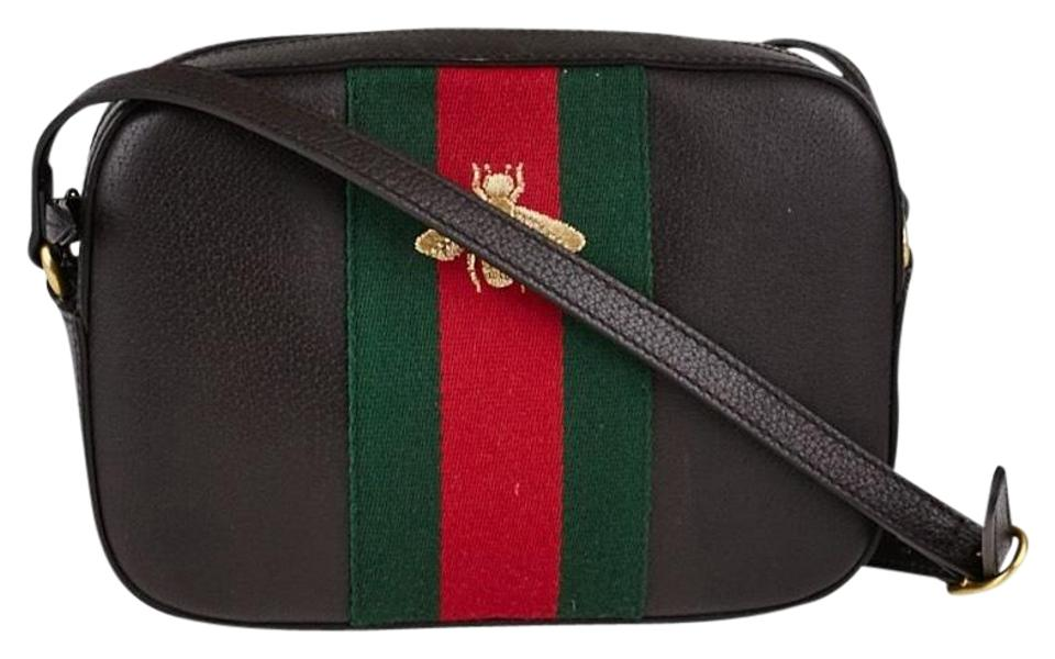 354f5780bfe Gucci Webby Adjustable Strap Iconic Green and Red Web Stripe and Golden Embroidered  Bee with Goldtone Hardware Black Calfskin Leather Cross Body Bag
