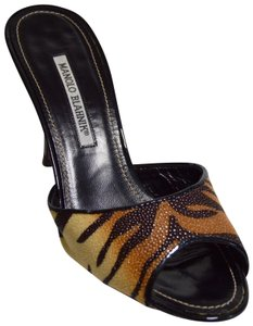Manolo Blahnik Stingray Exotic Skins Tiger Mules
