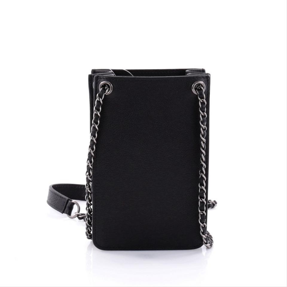 cfcbead02a8a55 Chanel Beaute Crossbody Bag Price. Chanel Beaute Cc Phone Holder Crossbody  Calfskin Black Leather Baguette - Tradesy