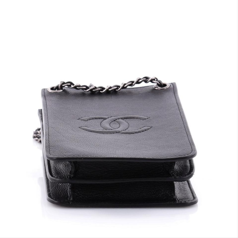 16773dbd4f20 Chanel Beaute Cc Phone Holder Crossbody Calfskin Black Leather Baguette -  Tradesy