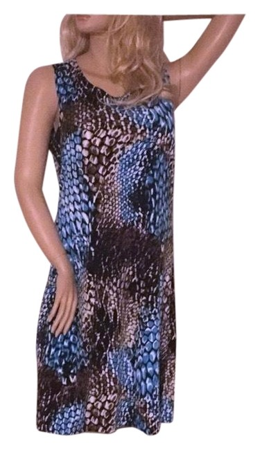 Item - Blue White Black Brown Nice Ladies Mid-length Casual Maxi Dress Size 12 (L)