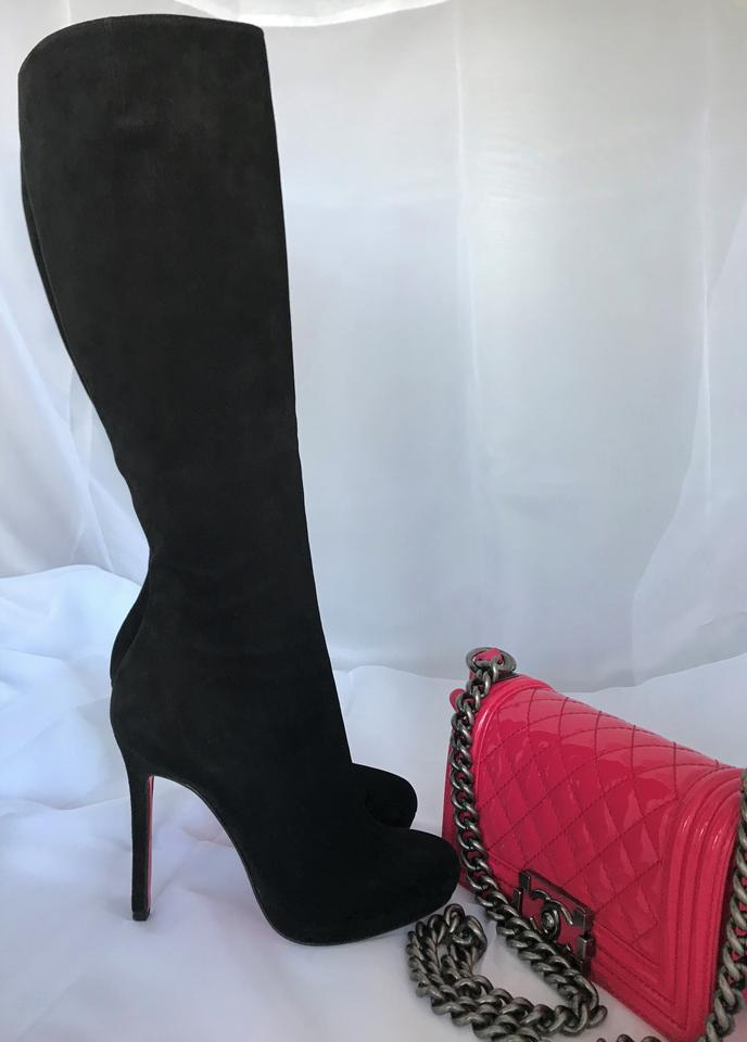 Pump Sole Booties Christian Heel Black Louboutin High 36 Knee Thigh Suede Red Lady Zip Boots Alti It New UFPqUAwx6