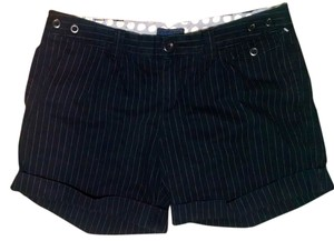 American Eagle Outfitters Size 14 Blue Cuffed Shorts Navy Pin striped