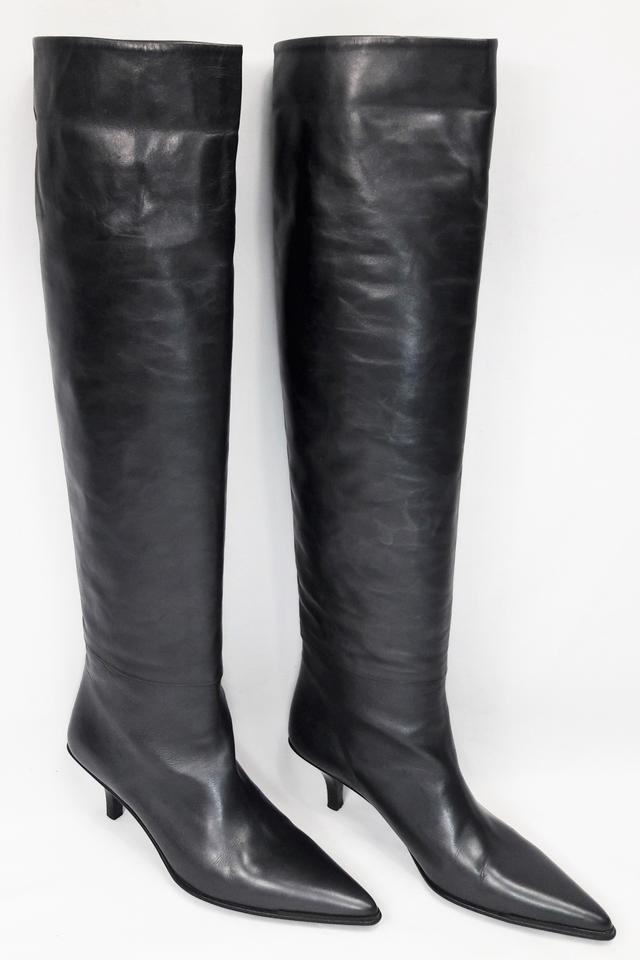 27a8053eba Gucci Black Leather Pointed Toe Kitten Heel Knee High Boots/Booties ...