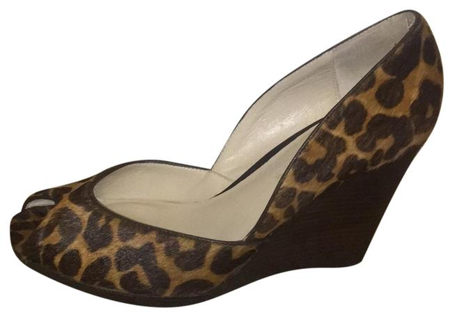 Item - Black and Brown By Mk Vail Leopard Calf Print Wedge Pumps Size US 7 Regular (M, B)