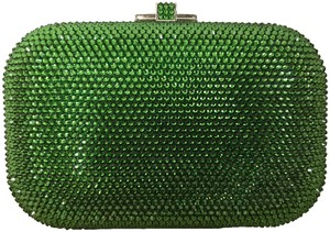 Judith Leiber Crystal Chain Strap Green Clutch